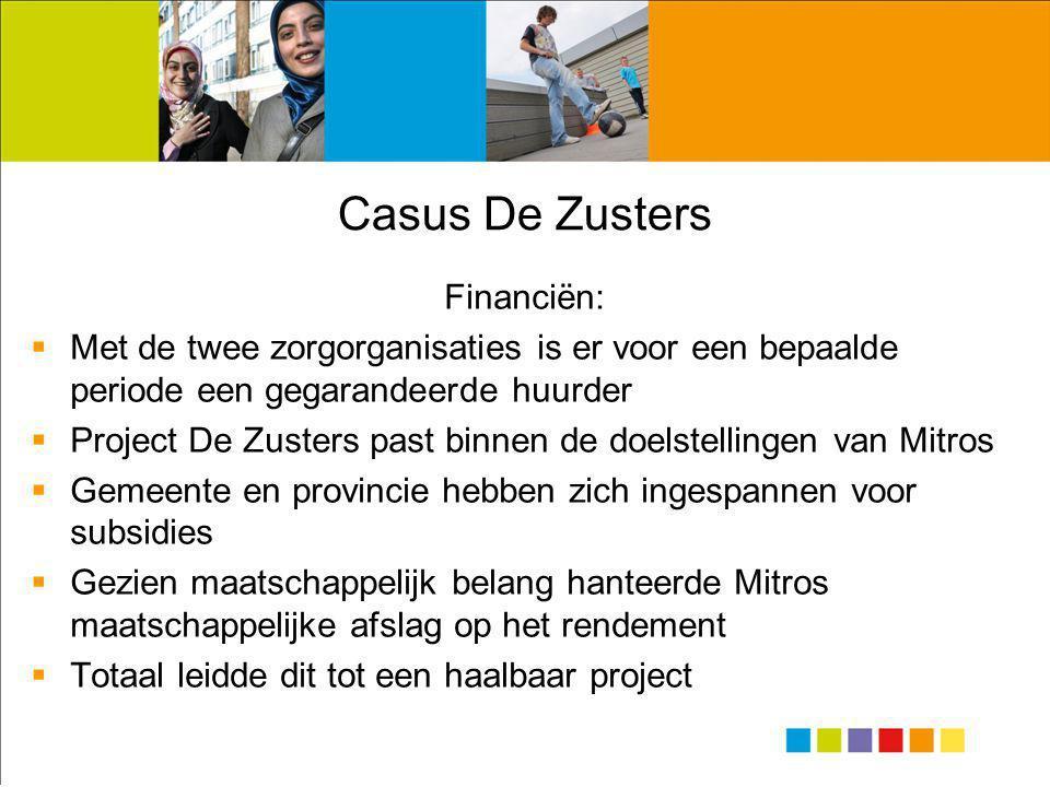 Casus De Zusters Financiën:  Met de twee zorgorganisaties is er voor een bepaalde periode een gegarandeerde huurder  Project De Zusters past binnen