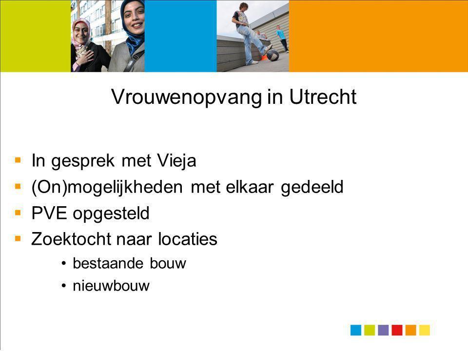 Vrouwenopvang in Utrecht  In gesprek met Vieja  (On)mogelijkheden met elkaar gedeeld  PVE opgesteld  Zoektocht naar locaties •bestaande bouw •nieuwbouw