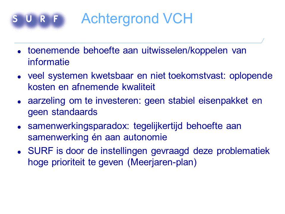Achtergrond VCH  toenemende behoefte aan uitwisselen/koppelen van informatie  veel systemen kwetsbaar en niet toekomstvast: oplopende kosten en afne