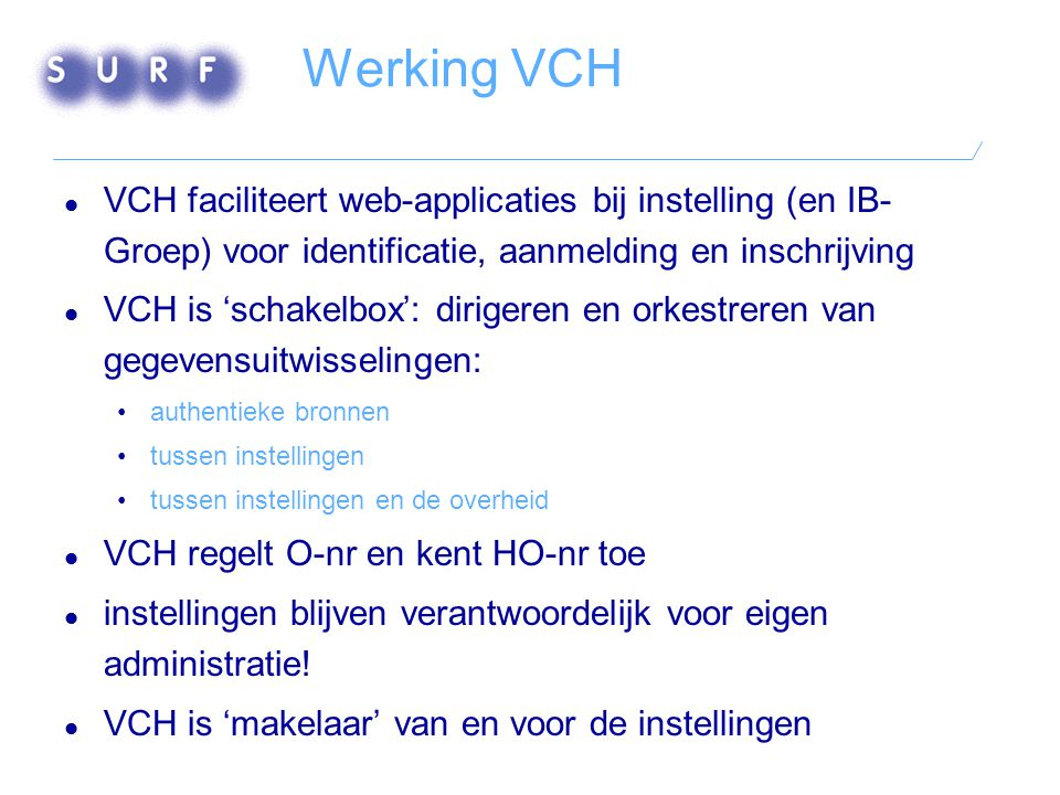 Werking VCH  VCH faciliteert web-applicaties bij instelling (en IB- Groep) voor identificatie, aanmelding en inschrijving  VCH is 'schakelbox': diri