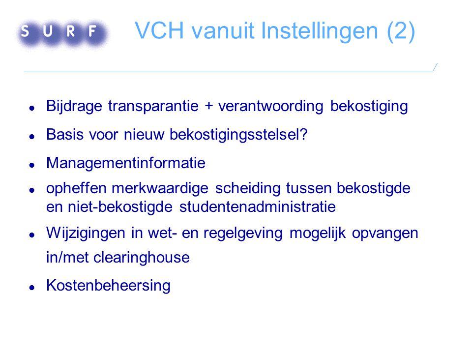 VCH vanuit Instellingen (2)  Bijdrage transparantie + verantwoording bekostiging  Basis voor nieuw bekostigingsstelsel?  Managementinformatie  oph