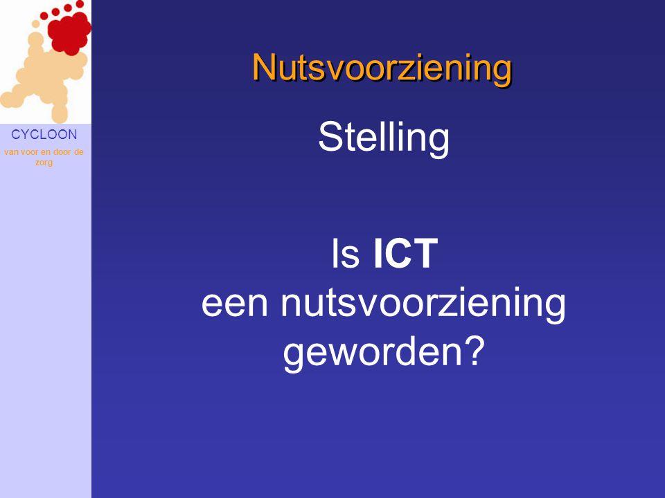 CYCLOON van voor en door de zorg Nutsvoorziening Stelling Is ICT een nutsvoorziening geworden?