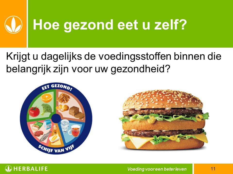 Voeding voor een beter leven 11 Hoe gezond eet u zelf? Krijgt u dagelijks de voedingsstoffen binnen die belangrijk zijn voor uw gezondheid?