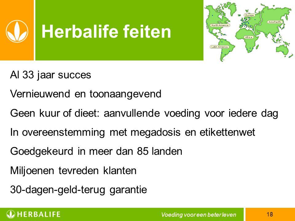 Voeding voor een beter leven 18 Al 33 jaar succes Vernieuwend en toonaangevend Geen kuur of dieet: aanvullende voeding voor iedere dag In overeenstemm