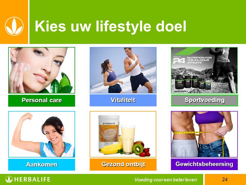 Voeding voor een beter leven 24 Aankomen Sportvoeding Vitaliteit Personal care Gezond ontbijt Gewichtsbeheersing Kies uw lifestyle doel