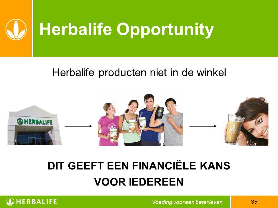 Voeding voor een beter leven 35 Herbalife producten niet in de winkel DIT GEEFT EEN FINANCIËLE KANS VOOR IEDEREEN Herbalife Opportunity