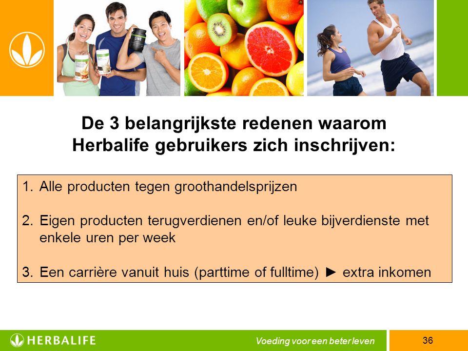 Voeding voor een beter leven 36 De 3 belangrijkste redenen waarom Herbalife gebruikers zich inschrijven: 1.Alle producten tegen groothandelsprijzen 2.