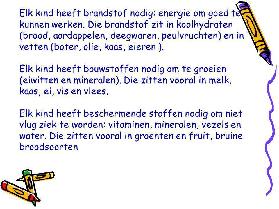 Elk kind heeft brandstof nodig: energie om goed te kunnen werken. Die brandstof zit in koolhydraten (brood, aardappelen, deegwaren, peulvruchten) en i