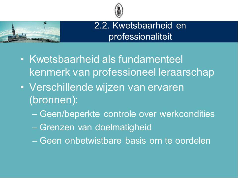 2.2. Kwetsbaarheid en professionaliteit •Kwetsbaarheid als fundamenteel kenmerk van professioneel leraarschap •Verschillende wijzen van ervaren (bronn