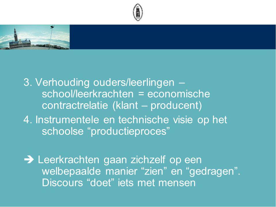 3. Verhouding ouders/leerlingen – school/leerkrachten = economische contractrelatie (klant – producent) 4. Instrumentele en technische visie op het sc