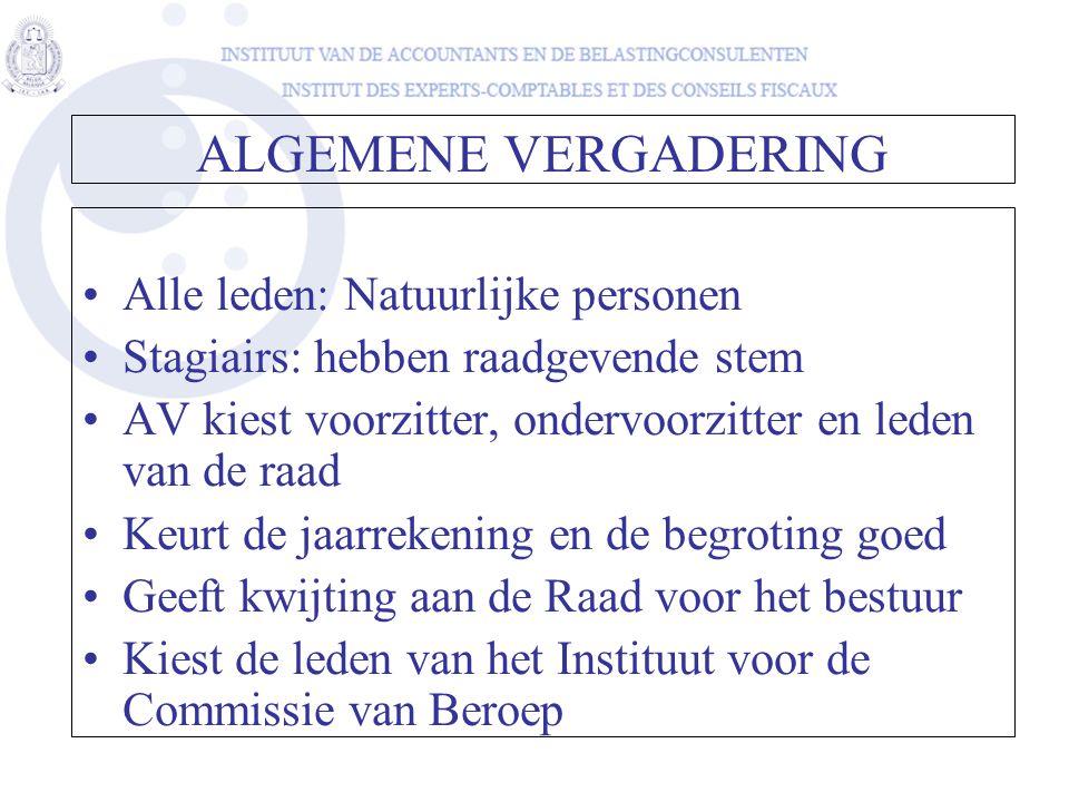 ALGEMENE VERGADERING •Alle leden: Natuurlijke personen •Stagiairs: hebben raadgevende stem •AV kiest voorzitter, ondervoorzitter en leden van de raad