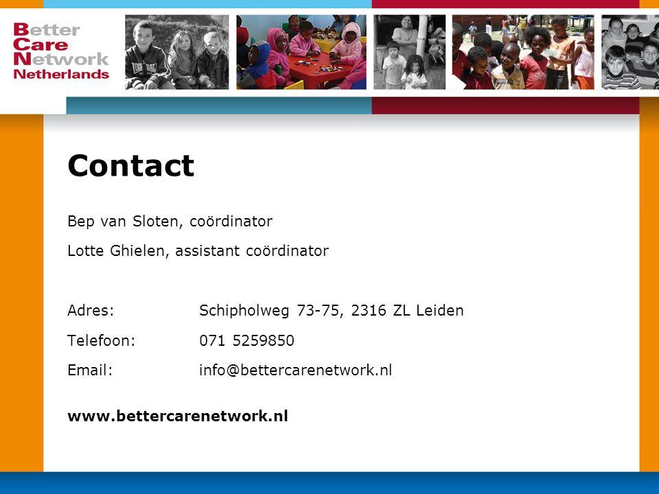 Contact Bep van Sloten, coördinator Lotte Ghielen, assistant coördinator Adres: Schipholweg 73-75, 2316 ZL Leiden Telefoon: 071 5259850 Email:info@bet