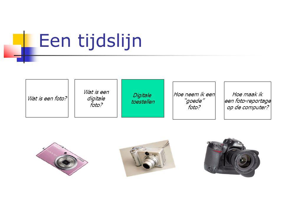 """Een tijdslijn Wat is een foto? Wat is een digitale foto? Digitale toestellen Hoe neem ik een """"goede"""" foto? Hoe maak ik een foto-reportage op de comput"""