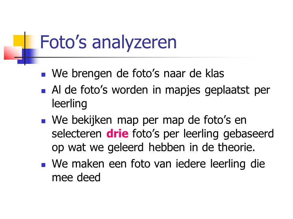 Foto's analyzeren  We brengen de foto's naar de klas  Al de foto's worden in mapjes geplaatst per leerling  We bekijken map per map de foto's en selecteren drie foto's per leerling gebaseerd op wat we geleerd hebben in de theorie.