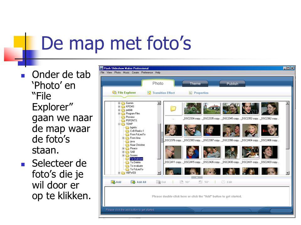 """De map met foto's  Onder de tab 'Photo' en """"File Explorer"""" gaan we naar de map waar de foto's staan.  Selecteer de foto's die je wil door er op te k"""