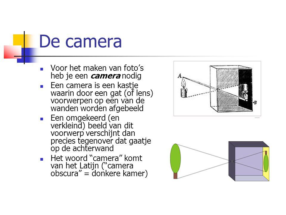 De camera  Voor het maken van foto's heb je een camera nodig  Een camera is een kastje waarin door een gat (of lens) voorwerpen op een van de wanden worden afgebeeld  Een omgekeerd (en verkleind) beeld van dit voorwerp verschijnt dan precies tegenover dat gaatje op de achterwand  Het woord camera komt van het Latijn ( camera obscura = donkere kamer)