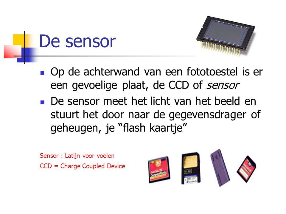 De sensor  Op de achterwand van een fototoestel is er een gevoelige plaat, de CCD of sensor  De sensor meet het licht van het beeld en stuurt het door naar de gegevensdrager of geheugen, je flash kaartje Sensor : Latijn voor voelen CCD = Charge Coupled Device
