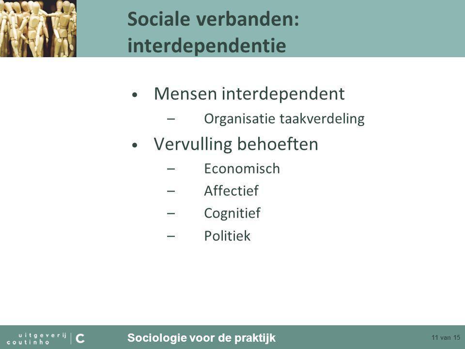 Sociologie voor de praktijk 11 van 15 Sociale verbanden: interdependentie • Mensen interdependent –Organisatie taakverdeling • Vervulling behoeften –Economisch –Affectief –Cognitief –Politiek