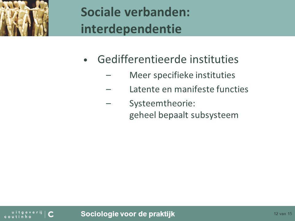 Sociologie voor de praktijk 12 van 15 Sociale verbanden: interdependentie • Gedifferentieerde instituties –Meer specifieke instituties –Latente en manifeste functies –Systeemtheorie: geheel bepaalt subsysteem