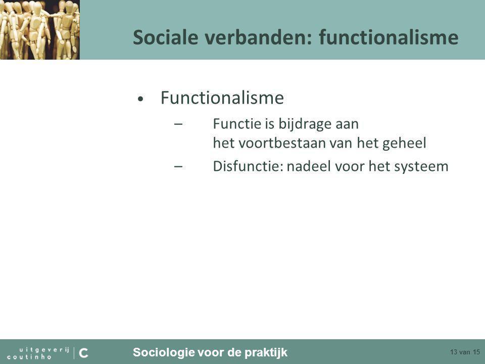 Sociologie voor de praktijk 13 van 15 Sociale verbanden: functionalisme • Functionalisme –Functie is bijdrage aan het voortbestaan van het geheel –Disfunctie: nadeel voor het systeem