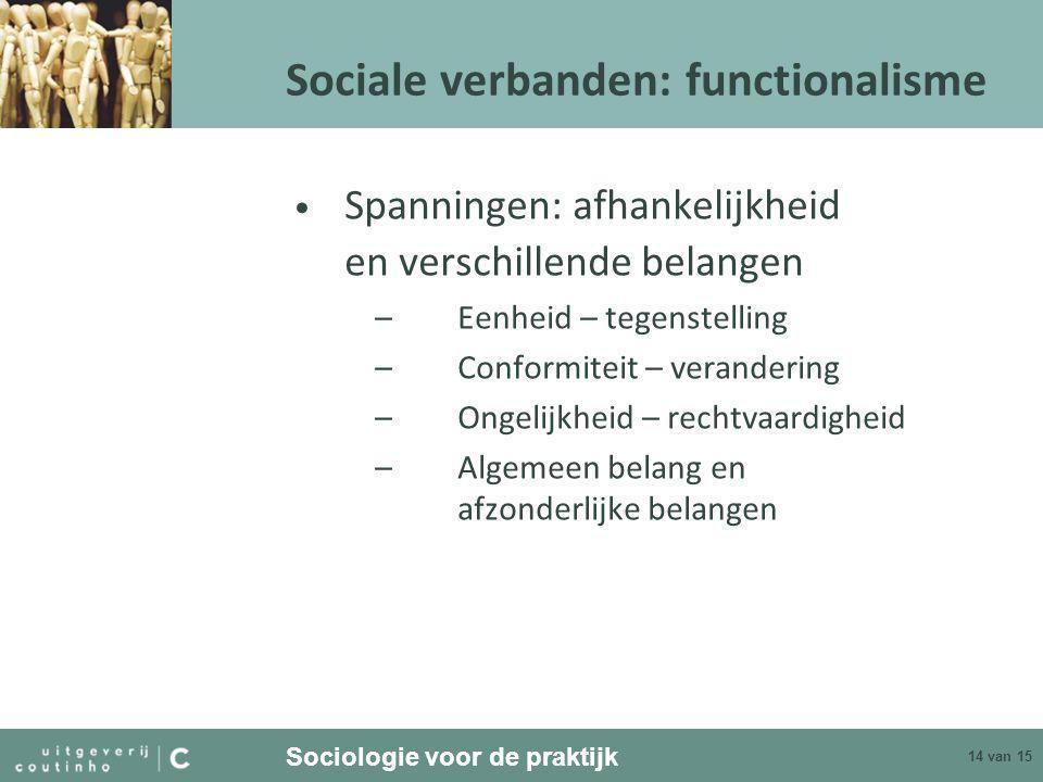 Sociologie voor de praktijk 14 van 15 Sociale verbanden: functionalisme • Spanningen: afhankelijkheid en verschillende belangen –Eenheid – tegenstelling –Conformiteit – verandering –Ongelijkheid – rechtvaardigheid –Algemeen belang en afzonderlijke belangen