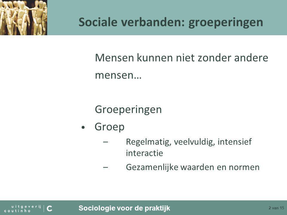 Sociologie voor de praktijk 3 van 15 Sociale verbanden: groeperingen • Collectiviteit –Gemeenschappelijke waarden, geen directe interactie/communicatie –Kan sociale beweging worden (organiseren) • Sociale categorie –Bepaalde eigenschap gemeen