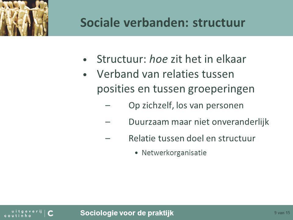 Sociologie voor de praktijk 9 van 15 Sociale verbanden: structuur • Structuur: hoe zit het in elkaar • Verband van relaties tussen posities en tussen groeperingen –Op zichzelf, los van personen –Duurzaam maar niet onveranderlijk –Relatie tussen doel en structuur •Netwerkorganisatie