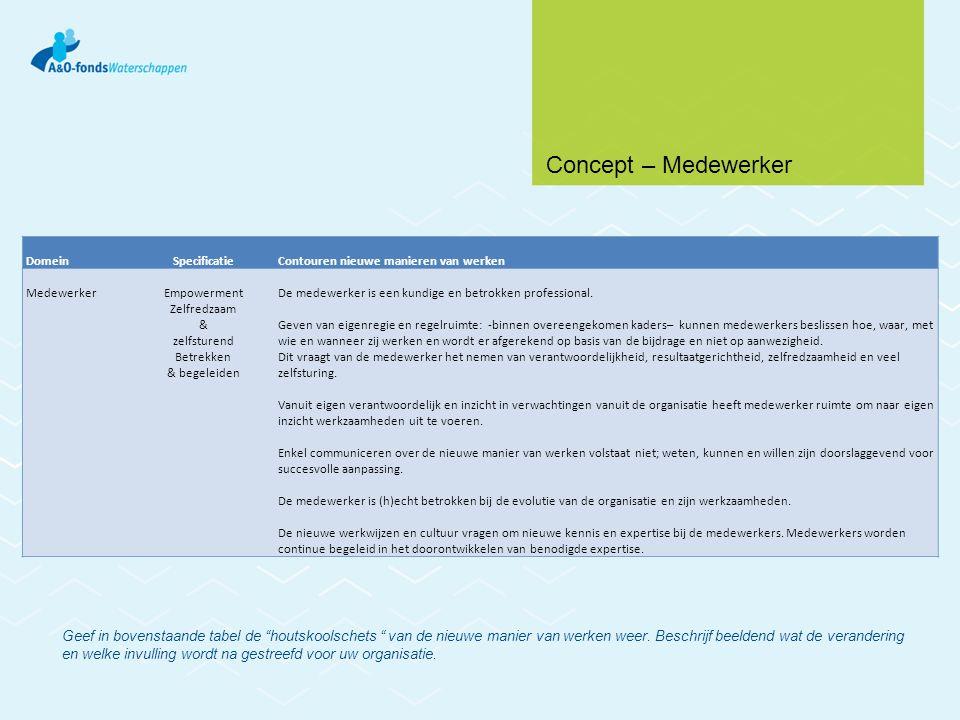 DomeinSpecificatieContouren nieuwe manieren van werken MedewerkerEmpowerment Zelfredzaam & zelfsturend Betrekken & begeleiden De medewerker is een kun