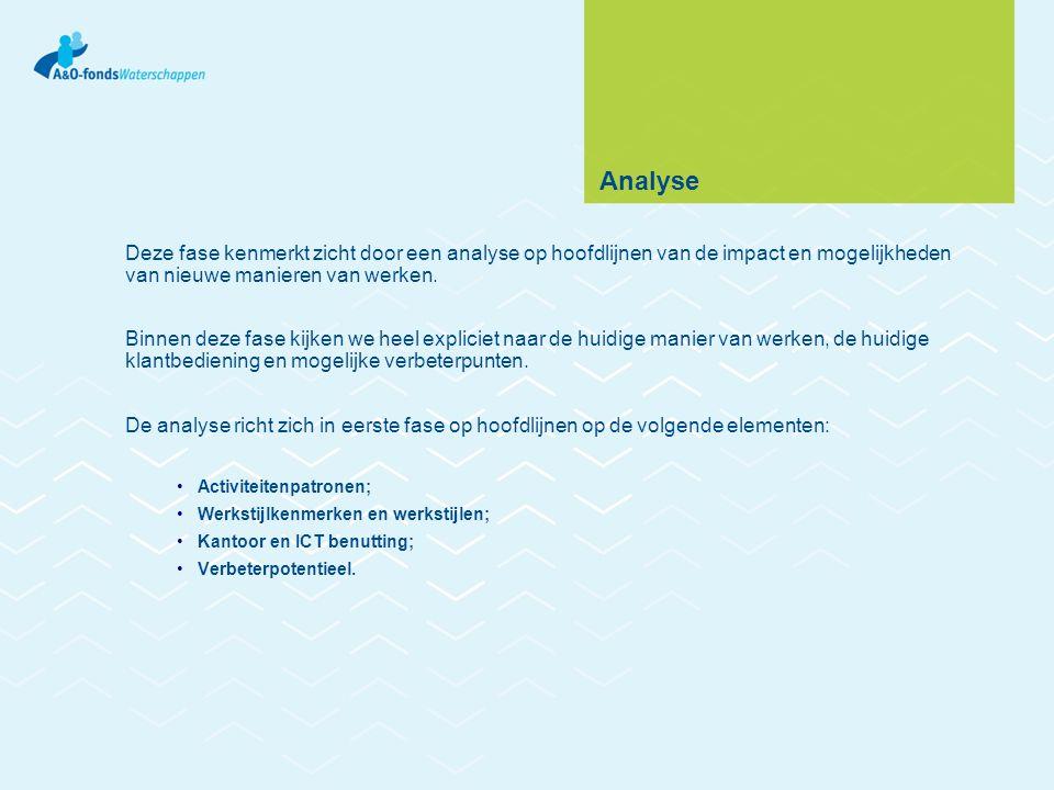 Analyse Deze fase kenmerkt zicht door een analyse op hoofdlijnen van de impact en mogelijkheden van nieuwe manieren van werken. Binnen deze fase kijke