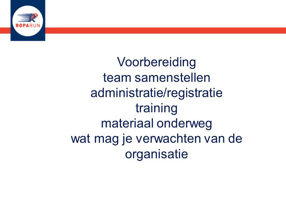 Voorbereiding team samenstellen administratie/registratie training materiaal onderweg wat mag je verwachten van de organisatie