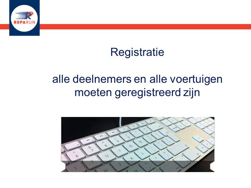 Registratie alle deelnemers en alle voertuigen moeten geregistreerd zijn