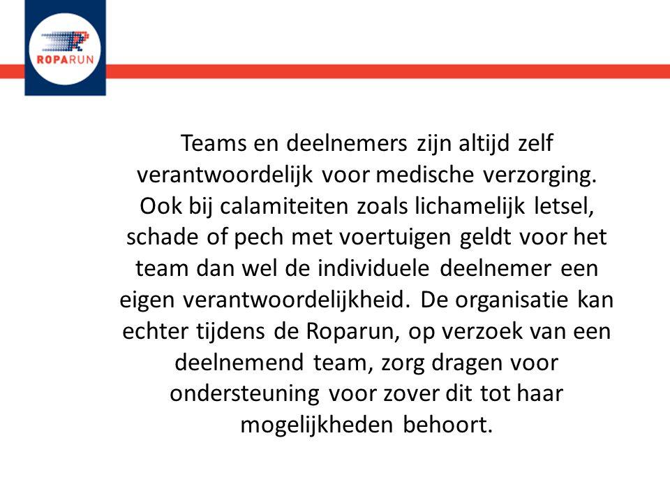Teams en deelnemers zijn altijd zelf verantwoordelijk voor medische verzorging. Ook bij calamiteiten zoals lichamelijk letsel, schade of pech met voer
