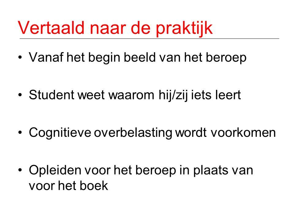Vertaald naar de praktijk •Vanaf het begin beeld van het beroep •Student weet waarom hij/zij iets leert •Cognitieve overbelasting wordt voorkomen •Opl