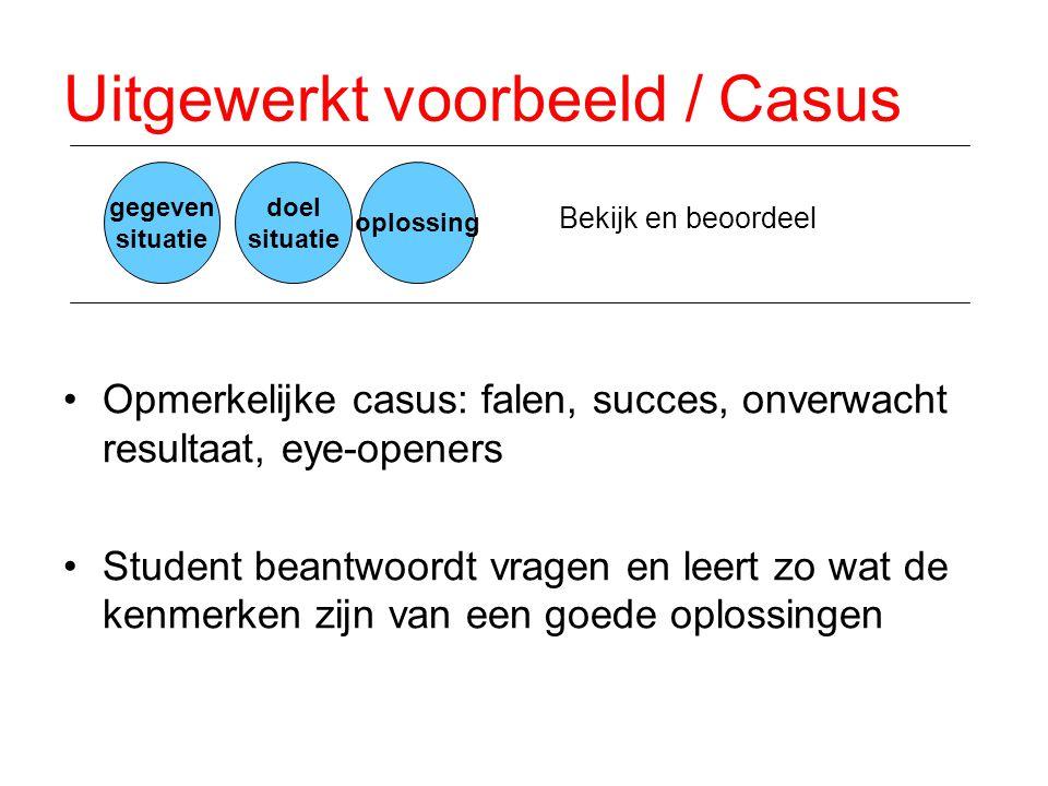 Uitgewerkt voorbeeld / Casus •Opmerkelijke casus: falen, succes, onverwacht resultaat, eye-openers •Student beantwoordt vragen en leert zo wat de kenm