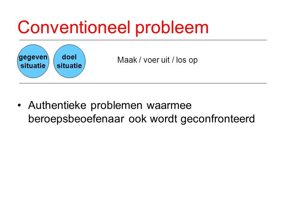 Conventioneel probleem •Authentieke problemen waarmee beroepsbeoefenaar ook wordt geconfronteerd Maak / voer uit / los op gegeven situatie doel situat