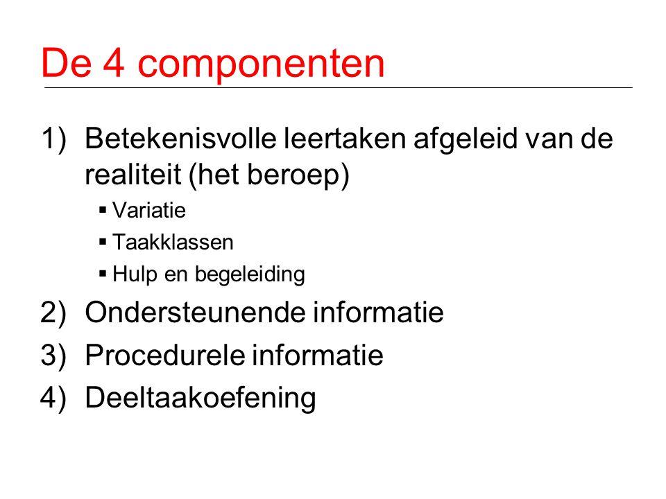De 4 componenten 1)Betekenisvolle leertaken afgeleid van de realiteit (het beroep)  Variatie  Taakklassen  Hulp en begeleiding 2)Ondersteunende inf