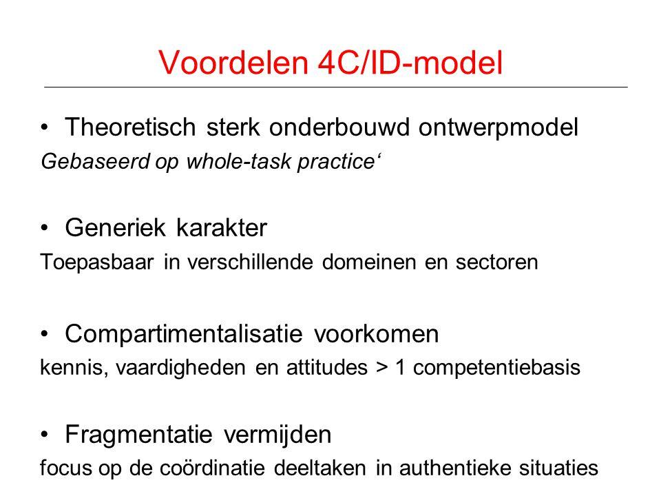 Voordelen 4C/ID-model •Theoretisch sterk onderbouwd ontwerpmodel Gebaseerd op whole-task practice' •Generiek karakter Toepasbaar in verschillende dome