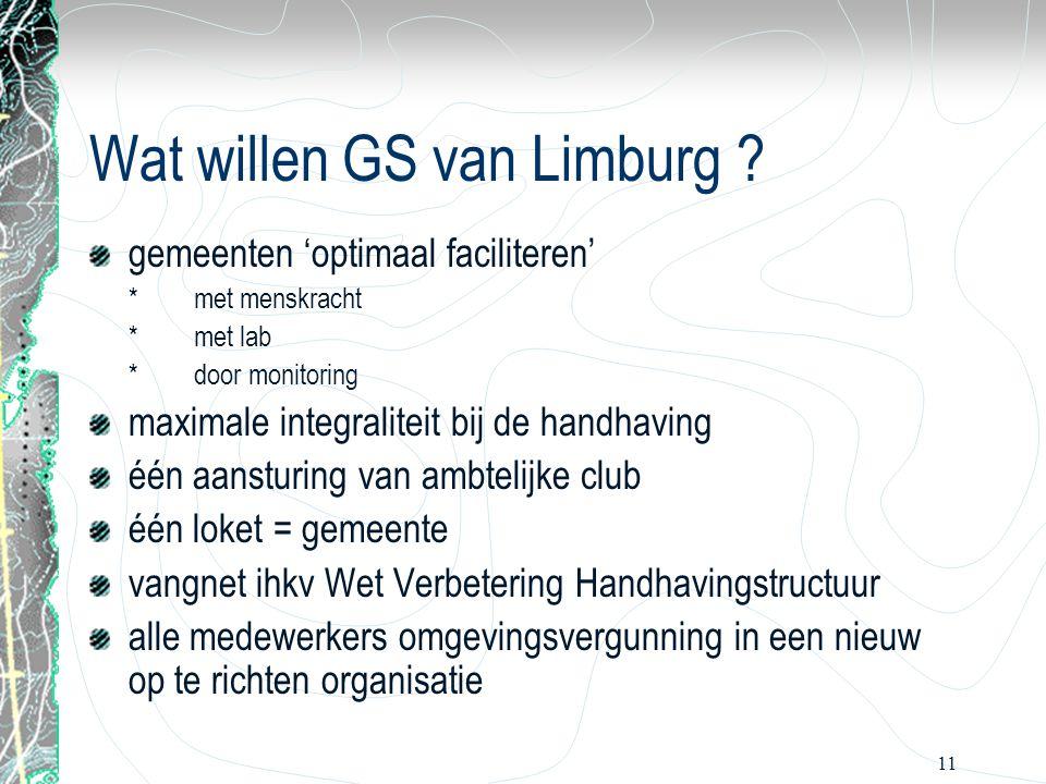 11 Wat willen GS van Limburg ? gemeenten 'optimaal faciliteren' *met menskracht *met lab *door monitoring maximale integraliteit bij de handhaving één
