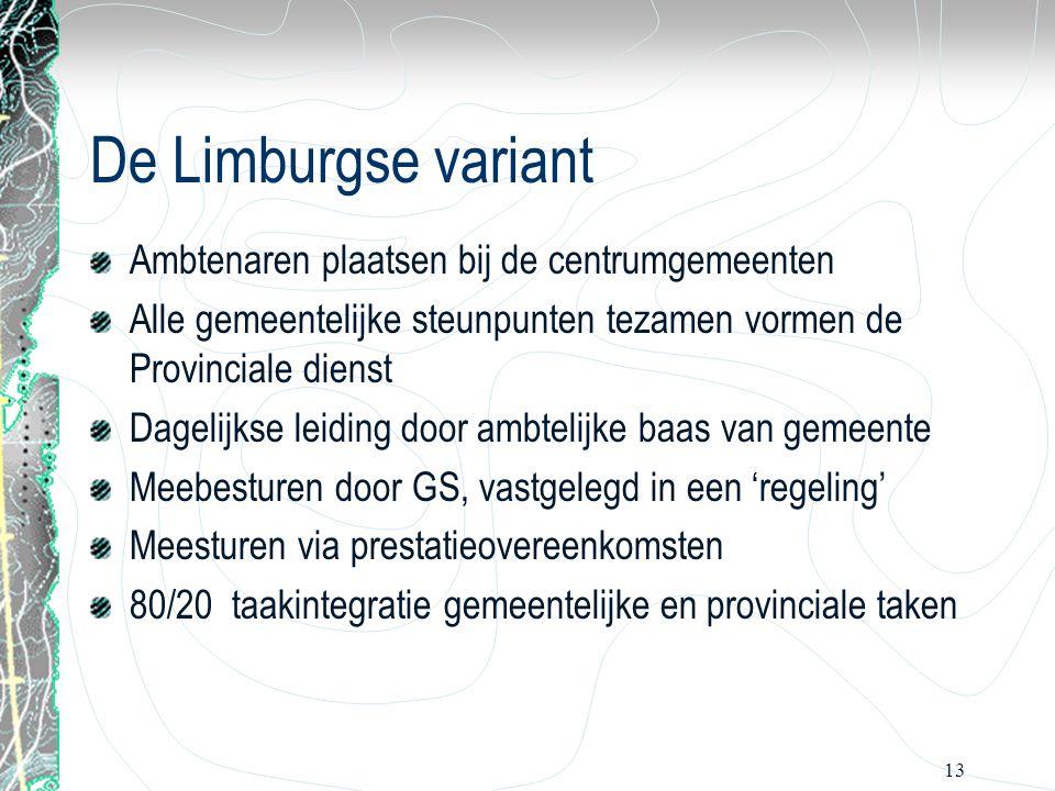 13 De Limburgse variant Ambtenaren plaatsen bij de centrumgemeenten Alle gemeentelijke steunpunten tezamen vormen de Provinciale dienst Dagelijkse lei