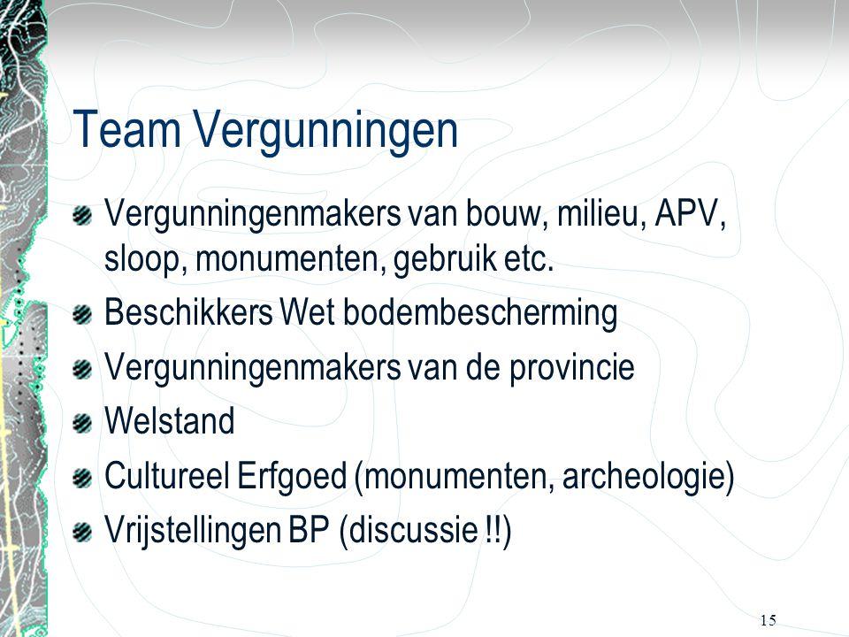 15 Team Vergunningen Vergunningenmakers van bouw, milieu, APV, sloop, monumenten, gebruik etc. Beschikkers Wet bodembescherming Vergunningenmakers van
