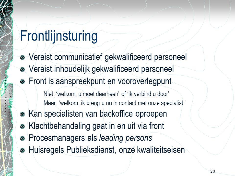 20 Frontlijnsturing Vereist communicatief gekwalificeerd personeel Vereist inhoudelijk gekwalificeerd personeel Front is aanspreekpunt en vooroverlegp