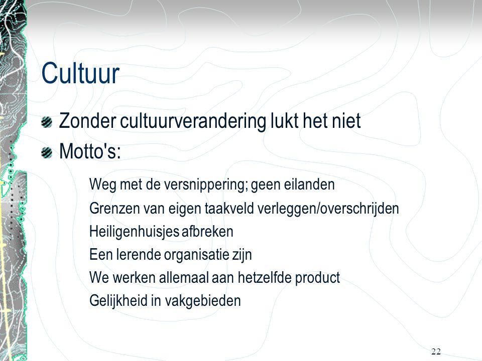 22 Cultuur Zonder cultuurverandering lukt het niet Motto's: Weg met de versnippering; geen eilanden Grenzen van eigen taakveld verleggen/overschrijden