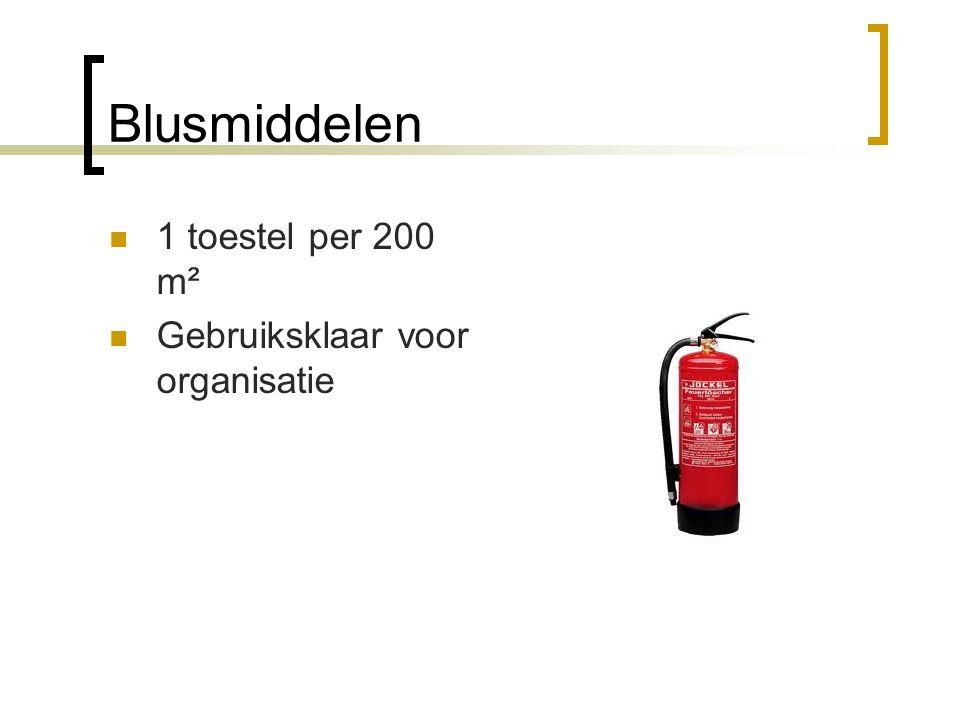 Blusmiddelen  1 toestel per 200 m²  Gebruiksklaar voor organisatie