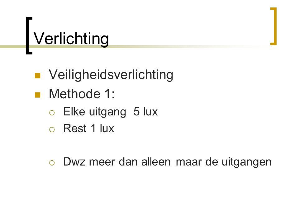 Verlichting  Veiligheidsverlichting  Methode 1:  Elke uitgang 5 lux  Rest 1 lux  Dwz meer dan alleen maar de uitgangen
