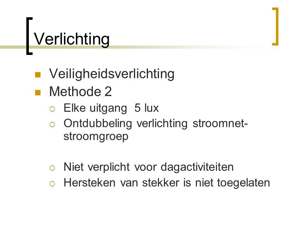 Verlichting  Veiligheidsverlichting  Methode 2  Elke uitgang 5 lux  Ontdubbeling verlichting stroomnet- stroomgroep  Niet verplicht voor dagactiv