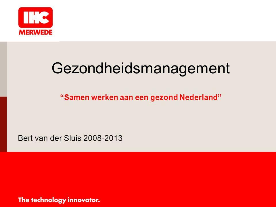 Uitgangspunten gezondheids- management IHC Merwede 2008 -Verankerd in personeelsbeleid -Agenda punt directie en OR, zowel centraal als decentraal -Rapportage ken- en stuurgetallen -Duidelijk Arbo- en Veiligheidsbeleid (VCA, toolbox meetings, PBM's, veiligheidskundige) -Onderdeel leidinggevende taak -Overlegstructuur deskundige diensten management en OR rond: Beleid, SMT en RI&E -Aandachtspunt presentaties directieleden