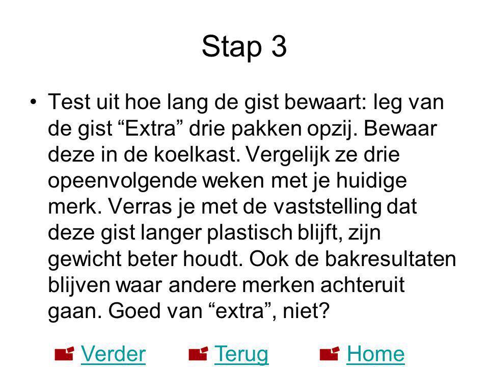 """Stap 3 •Test uit hoe lang de gist bewaart: leg van de gist """"Extra"""" drie pakken opzij. Bewaar deze in de koelkast. Vergelijk ze drie opeenvolgende weke"""
