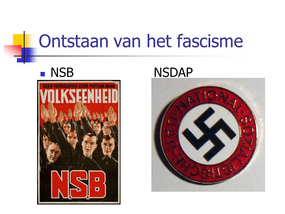 Ontstaan van het fascisme  NSBNSDAP