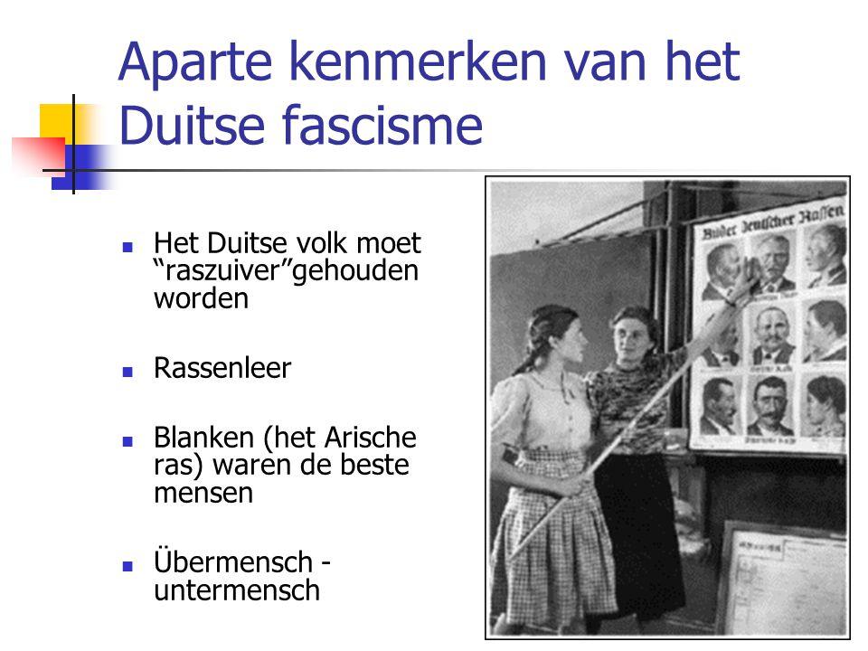 Aparte kenmerken van het Duitse fascisme  Het Duitse volk moet raszuiver gehouden worden  Rassenleer  Blanken (het Arische ras) waren de beste mensen  Übermensch - untermensch