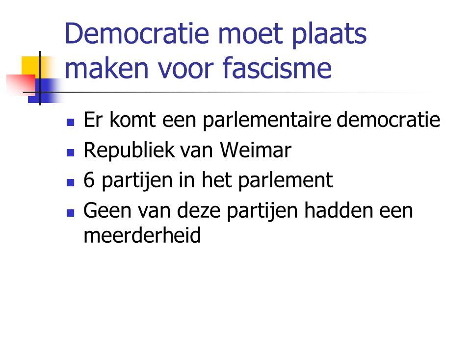 Democratie moet plaats maken voor fascisme  Er komt een parlementaire democratie  Republiek van Weimar  6 partijen in het parlement  Geen van deze partijen hadden een meerderheid